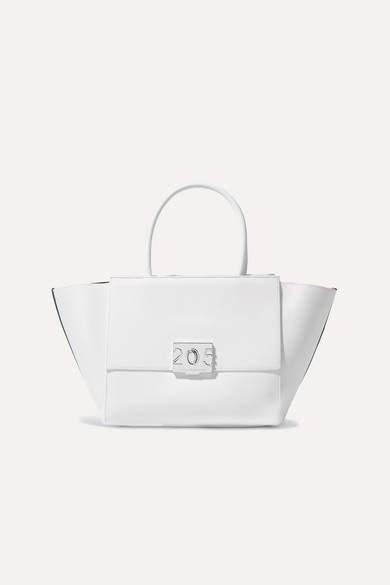 Calvin Klein Bonnie Medium Canvas-trimmed Leather Tote - White
