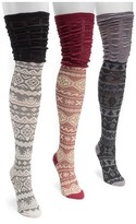 Muk Luks Women's 3 Pair Pack Microfiber Over the Knee Socks - Multicolor One Size