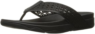 FitFlop Women's Leather Lattice Surfa Floral FLIP Flops