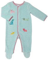 John Lewis Dog Stripe Sleepsuit, Green