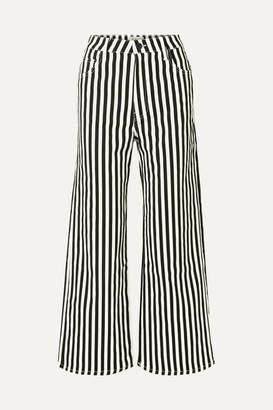 Eve Denim Charlotte Striped High-rise Wide-leg Jeans - Black