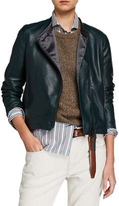 Brunello Cucinelli Collarless Asymmetric Zip Leather Jacket