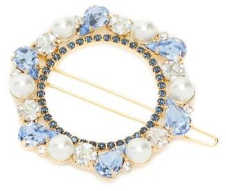 Erdem Faux-pearl And Crystal-embellished Barrette - Blue