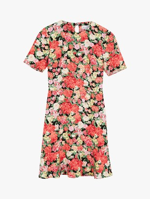 Warehouse Short Sleeve Floral Peplum Mini Dress, Pink/Multi