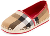 Burberry Peckfield Check Canvas Espadrille, Berry Pink/Natural, Youth