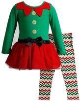 Youngland Girls 4-6x Elf Glitter Dress & Chevron Leggings Set