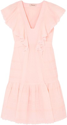 Temperley London Beaux Broderie Anglaise-trimmed Ruffled Swiss-dot Cotton Dress