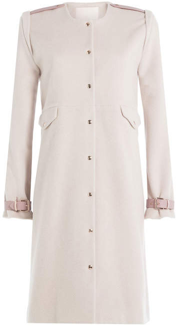 Blend of America Marina Hoermanseder Wool-Angora Blend Coat with Leather Deatils