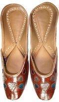 Mogul Interior Gift for MOM- Indian Wedding Shoes Punjabi Ethnic Bridal Jutti Flats