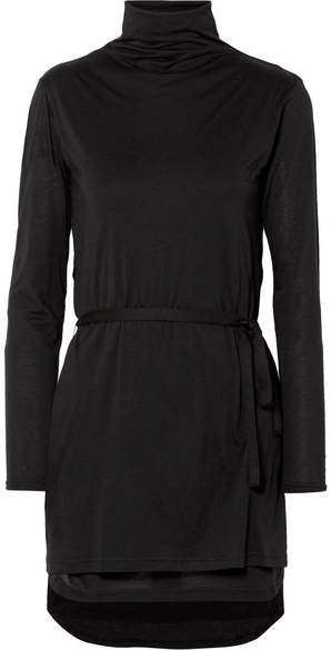 Ann Demeulemeester Cotton And Silk-blend Jersey Turtleneck Top - Black