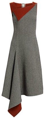 Oscar de la Renta Asymmetric Knit Wool & Cashmere Dress