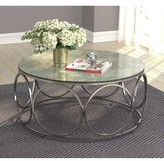 BEIGE Round Coffee Table With Casters Marble And Chrome Orren Ellis