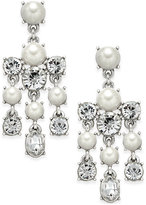 Charter Club Silver-Tone Crystal and Imitation Pearl Chandelier Earrings, Only at Macy's