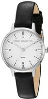French Connection Women's Quartz Metal and Leather Watch, Color:Black (Model: FC1256B)