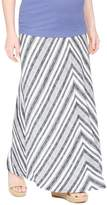 Fold Over Belly Printed Maternity Maxi Skirt