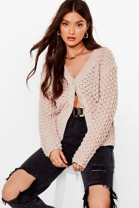 Nasty Gal Womens Take Knit All Relaxed Button-Down Cardigan - Beige - S, Beige