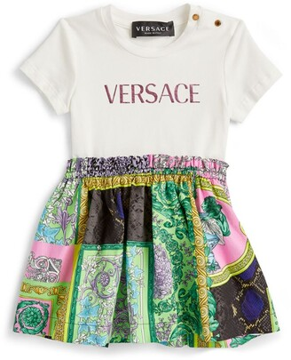 Versace Kids Baroque-Skirt Logo Dress (3-36 Months)