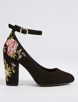 Marks and Spencer Block Heel Embroidered Court Shoes