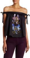 Cynthia Rowley Embellished Off-Shoulder Tie Shirt