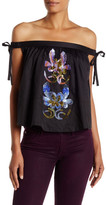 Cynthia Rowley Embellished Off-The-Shoulder Tie Shirt