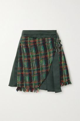 ANDERSSON BELL Ria Fringed Plaid Tweed And Pleated Satin Mini Skirt - Dark green