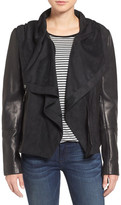 Vince Camuto Lamb Leather & Suede Hooded Jacket