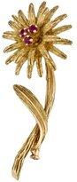 Tiffany & Co. 18K Ruby Flower Brooch