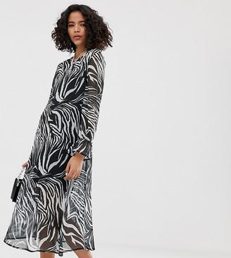 Reclaimed Vintage inspired midi sheer smock dress in animal print