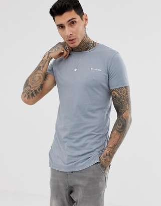 Religion longline t-shirt with seam detail in grey