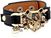 "Betsey Johnson Hollywood Glam"" Leopard Faux Leather Snap Bracelet"