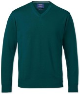 Charles Tyrwhitt Pine green merino wool v-neck sweater