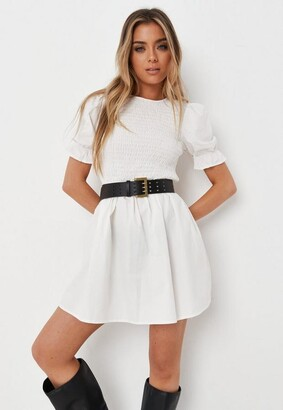 Missguided White Shirred Bust Frill Sleeve Dress