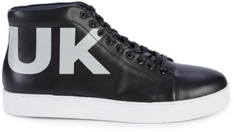 French Connection Triomphe Leather High-Top Sneakers