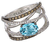LeVian Chocolatier Swiss Blue Topaz, Vanilla Diamond, Chocolate Diamond and 14K White Gold Ring 0.7 TCW