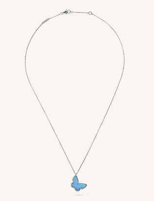 Van Cleef & Arpels Women's White Gold Sweet Alhambra And Turquoise Pendant