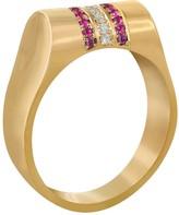 14ct Gold Ruby & Diamond High Top Ring