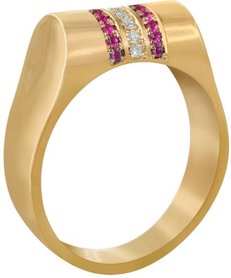Edge Only 14Ct Gold Ruby & Diamond High Top Ring