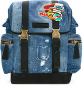 DSQUARED2 patch distressed denim backpack - men - Cotton/Polyester/metal - One Size