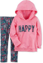 Carter's 2-Pc. Happy Hoodie & Floral-Print Leggings Set, Baby Girls