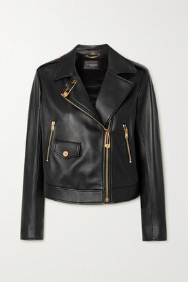 Versace - Embellished Leather Biker Jacket - Black
