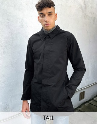 French Connection Tall lined funnel trench jacket in black