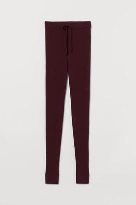 H&M Ribbed Wool Leggings - Red