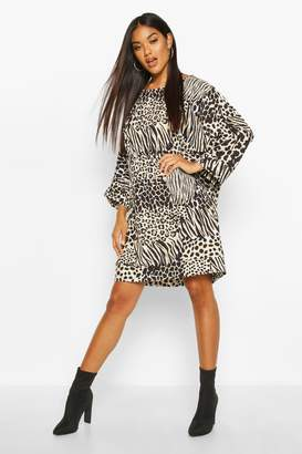 boohoo Animal Print Oversize Batwing Shift Dress