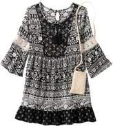 Knitworks Girls 7-16 Lace Trim Patterned Babydoll Dress with Crochet Crossbody Purse