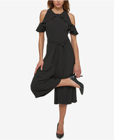 Jessica Simpson Ruffled Cold-Shoulder Culotte Jumpsuit