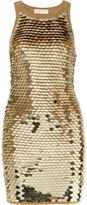 Pailette-embellished merino wool-blend dress