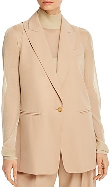 Max Mara Janzir Sleeveless Blazer-Style Virgin Wool Vest
