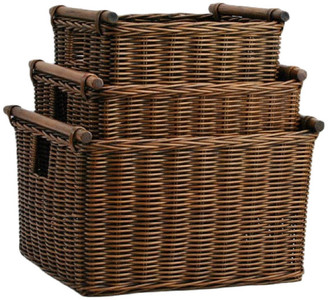 The Basket Lady Deep Pole Handle Wicker Storage Basket, Antique Walnut Brown, Large