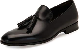Salvatore Ferragamo Tassel Leather Loafer, Black