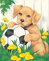 Dimensions Needlecrafts Paintworks Paint By Number, Puppy and Soccer Ball